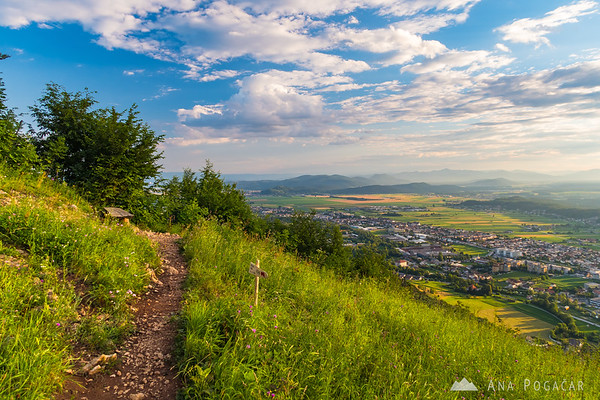 Views from Špica above Kamnik on a sunny June afternoon