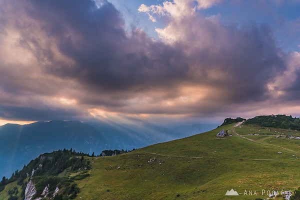 Dramatic skies at sunset as seen from Velika planina