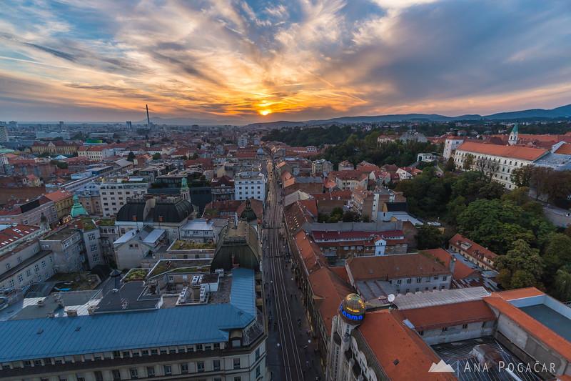 Zagreb from Zagreb 360° observation deck at sunset