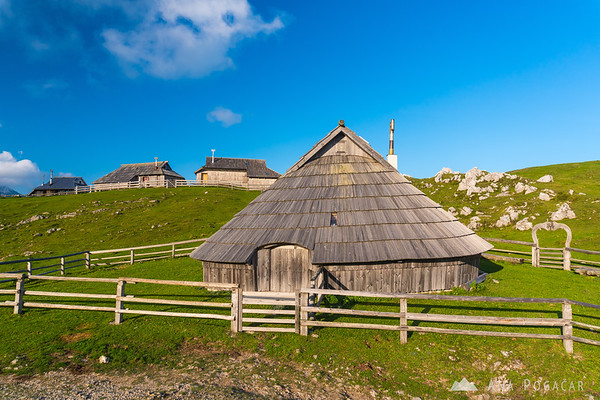 Shepherds' huts on Velika planina on a sunny September afternoon