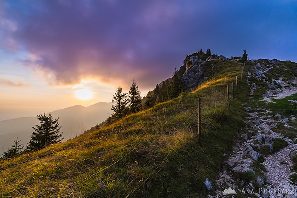 Intense sunset on Velika planina