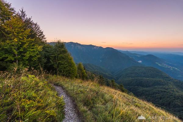 Views from Kamniški vrh after sunset