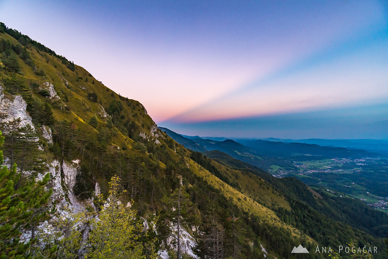 Anticrepuscular rays appeared when I hiked down Kamniški vrh after sunset