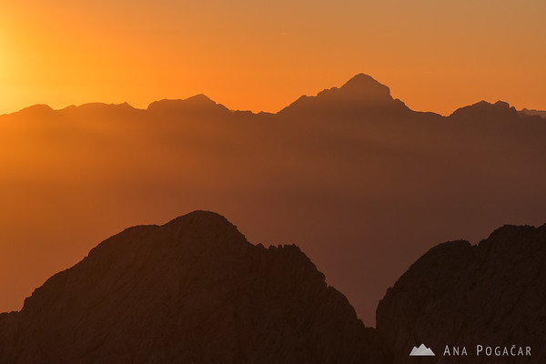 Mt. Triglav as seen from Mt. Grintovec at sunset