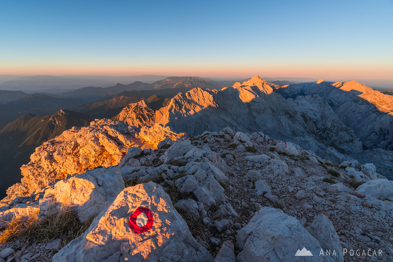 Looking toward Skuta from Mt. Grintovec at sunset