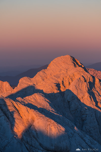 Mt. Skuta from Grintovec at sunset