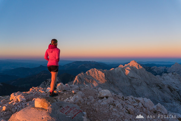 Sunset at the top of Mt. Grintovec