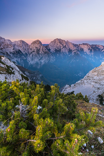 Views of the Kamnik Alps from the top of Mt Vrh korena after sunset