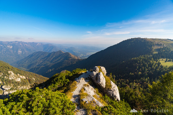 A viewpoint on the trail to Planina Koren. You can see Kamniški vrh from the north side.
