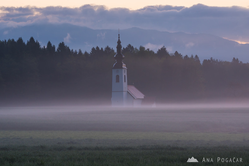 St. Jacob church near Hraše before sunrise