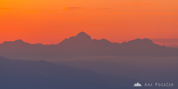 Mt. Triglav from Stari grad at sunset