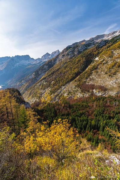 Views of Zadnja Trenta valley and Mt. Jalovec