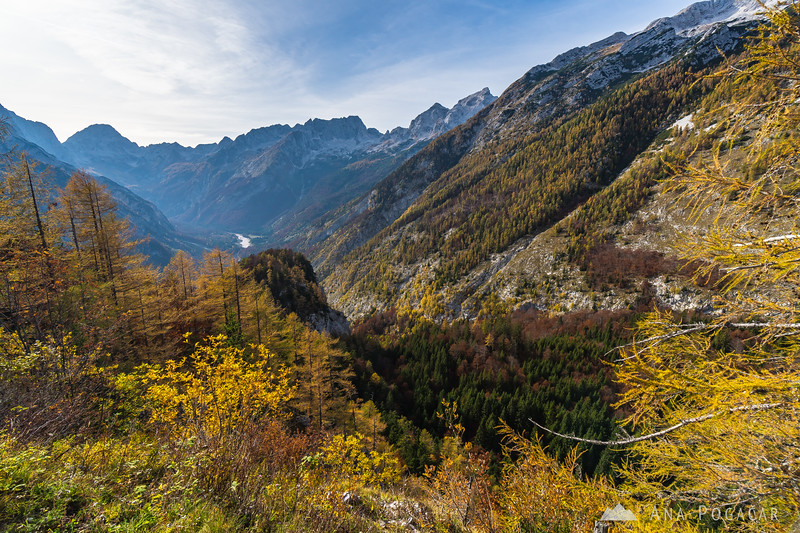 Views of Zadnja Trenta valley and Mts. Bavški Grintavec and Jalovec