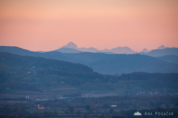 Mt. Triglav, the highest Slovenian peak, is visible from Kostanjevica vineyards if the visibility is good