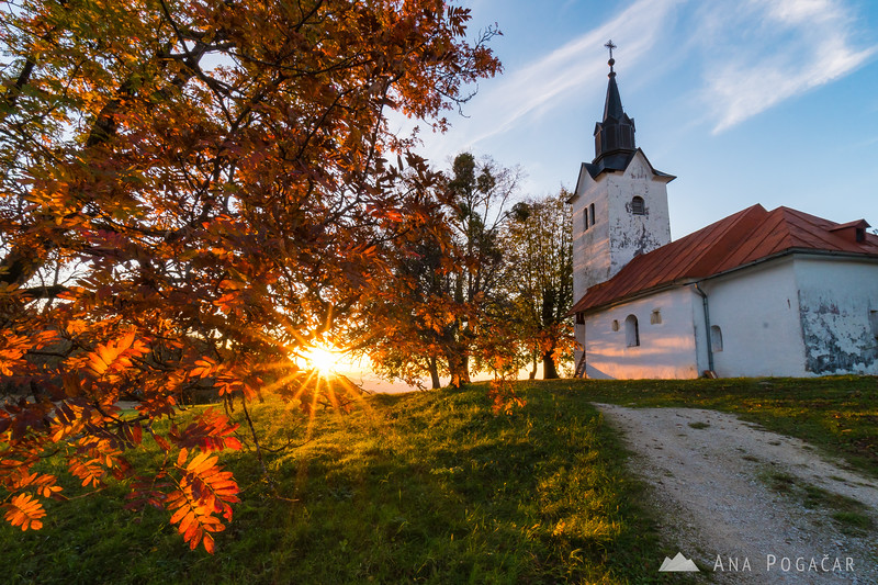 Beautiful sunset at the church in Ržišče near Kostanjevica