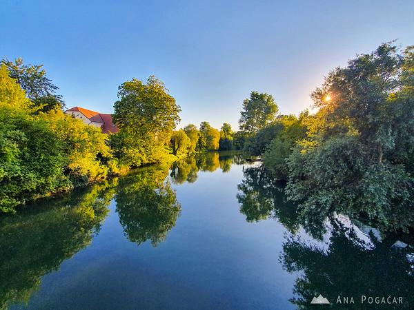 Summer sunset over Krka river
