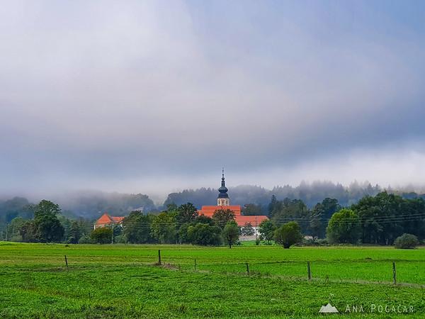 Monastery in Kostanjevica na Krki in morning fog