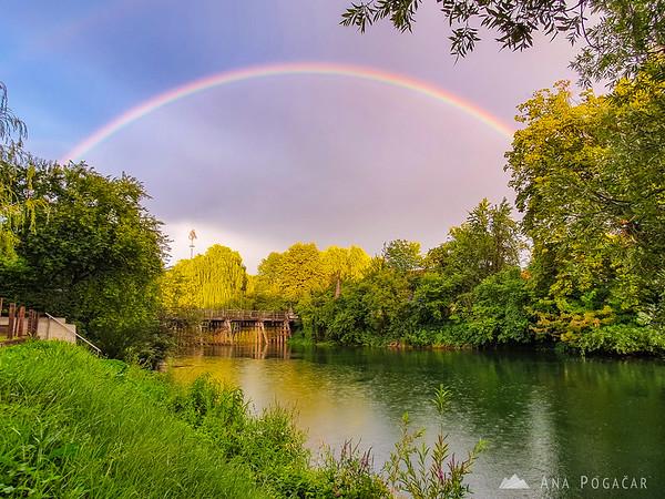 Rainbow over the Krka river