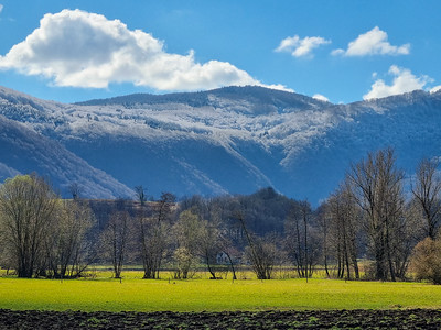 Dusting of snow on the Gorjanci mountains above Kostanjevica na Krki