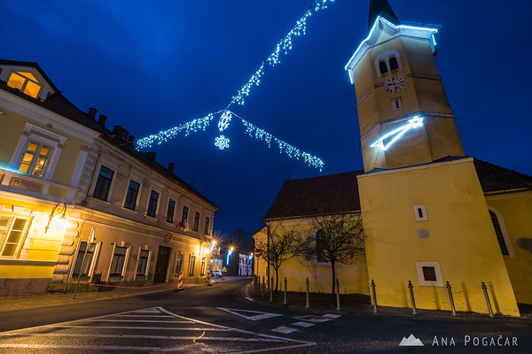 Christmas decorations in Kostanjevica na Krki during blue hour