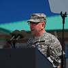 Commanding General of the 3rd Infantry Division GEN Abrams warms up the crowd in preparation for President Obama and the First Lady's arrival at Fort Stewart, GA.