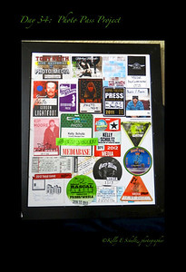 Day 34 ~ Photo Pass Project I really wanted to complete this today but completing would have meant getting out of jams to pick up the correct sized paper, and getting out of jams was not an option. I saw this idea somewhere where a photographer had framed all his photo passes.  I thought it was cool and wanted to make my own collage.  When this is done, it will have most of 2012's events and some of 2011 events.  I really hope 2013's events will need a larger frame :)
