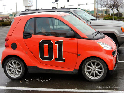 Day 13 ~ The General I generally think Smart cars are pretty stupid, but this one made me smile. Not only is it a smaller representation of the General Lee, but it even has the Dixie horn. If that isn't Awesome then I don't know what is!
