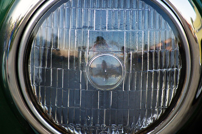 Headlight on an old car