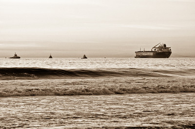 "03-26-2013:  Photo Credit - Daren Ogomori.   ""Believe it or not, this shot was taken at El Porto near Manhattan Beach.  All these ships were cruising around the mother ship.  I wanted to depict an old world feel."""