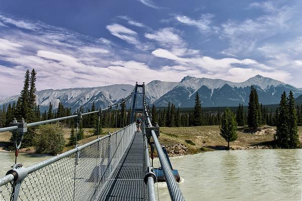 Swinging Bridge over North Saskatchewan River