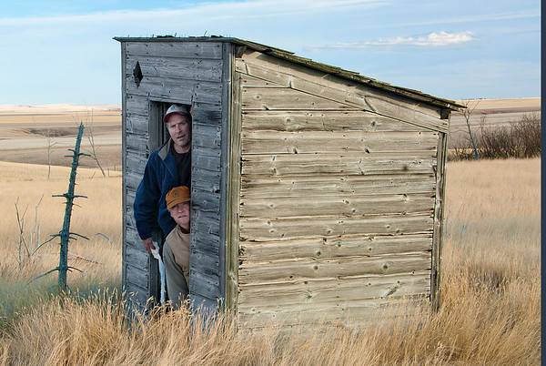This classic outhouse provided much needed relief.  Obviously a deluxe two-seater.