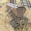 The seeder was used to sow wheat.  Steel wheels have long since been replaced by rubber.