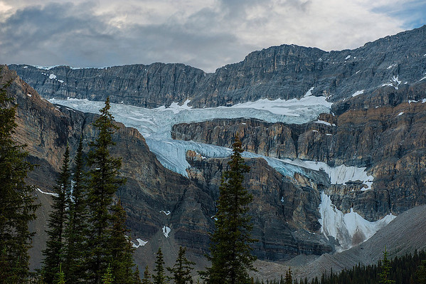 The blue ice of the Crowfoot glacier contrasts against the granite mountains.