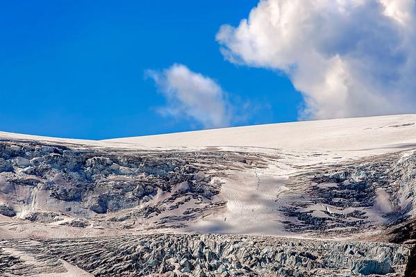 Line of Hikers descending Columbia Ice Field.