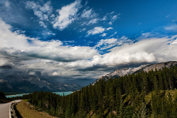 Clouds form over Abraham Lake.