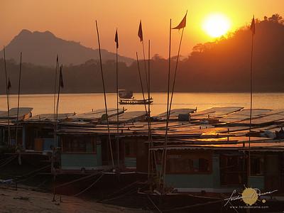 Mekong River Boats and Sunset - Luang Prabang