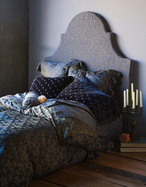 Note: Deluxe Marie is a discontinued fabric. All in Graphite: Colette Duvet Cover, Colette Euro Shams, Silk Velvet Embroidered Standard Shams, Celeste Neckroll, Deluxe Marie Sheets, Celeste covered headboard