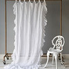 Linen Whisper Curtain with ruffle in White