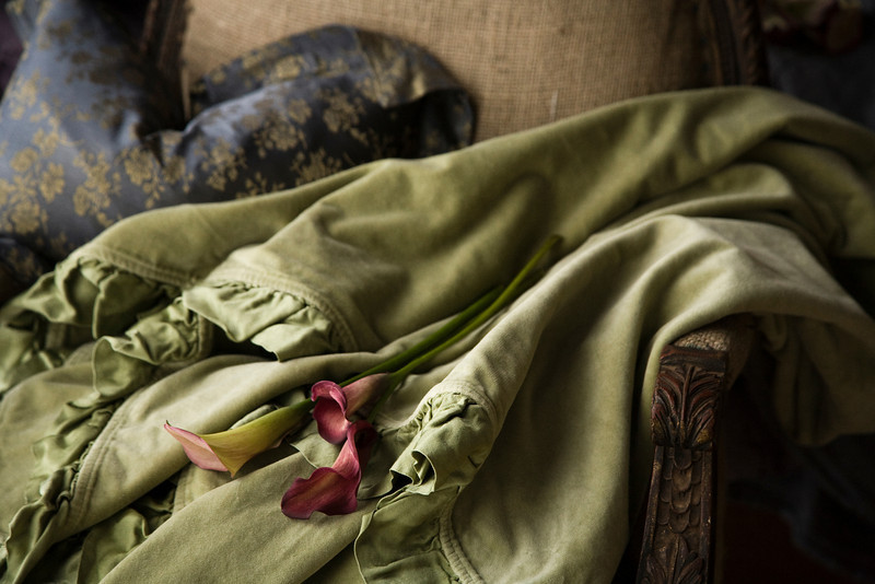 Note: Pistachio is a discontinued color. Colette Boudoir in Graphite, Velvet with Satin Throw Blanket in Pistachio