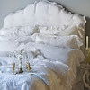 All in White: Linen Whisper Duvet Cover, Linen Whisper Euro Shams, Linen Whisper Standard Shams, Linen Whisper Body Pillow, Linen Fitted Sheet, Linen Whisper Dust Ruffle