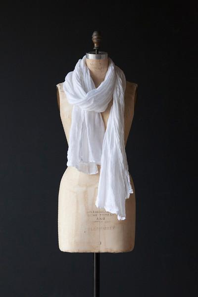Linen Whisper Scarf in White