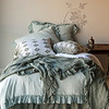 Note: Cypress is a discontinued color. Linen Whisper Duvet Cover in Seaglass, Linen Whisper Bed Scarf in Cypress, Linen Whisper Deluxe Shams in Seaglass, Olivia Decorative Pillowcases in Cypress over Linen Pillowcases in White, Linen Whisper Dust Ruffle in Cypress, Linen Sheets in White