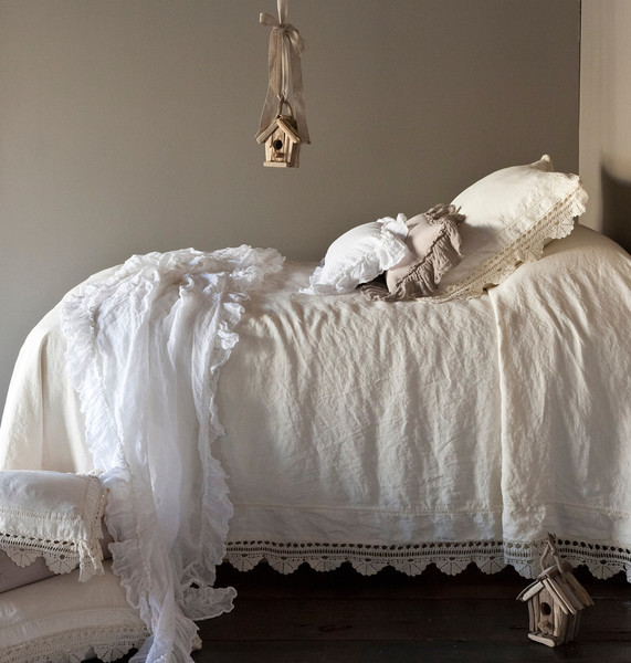 Linen with Crochet Lace Duvet Cover in Champagne, Linen Whisper Bed Scarf in White, Linen with Crochet Lace Deluxe Sham in Champagne, Linen Whisper Kidney Pillow in Flax, Linen Whisper Kidney Pillow in White