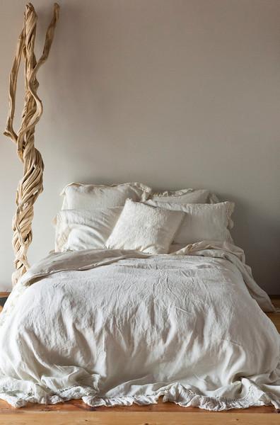 All in Champagne: Linen Whisper Duvet Cover, Linen Whisper Euro Shams, Linen with Crochet Lace Pillowcases, Adele Throw Pillow, Bella Sheets