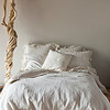 All in Champagne: Linen Whisper Duvet Cover, Linen Whisper Euro Shams, Linen with Crochet Lace Pillowcases, Adele Throw Pillow, Bella Sheets