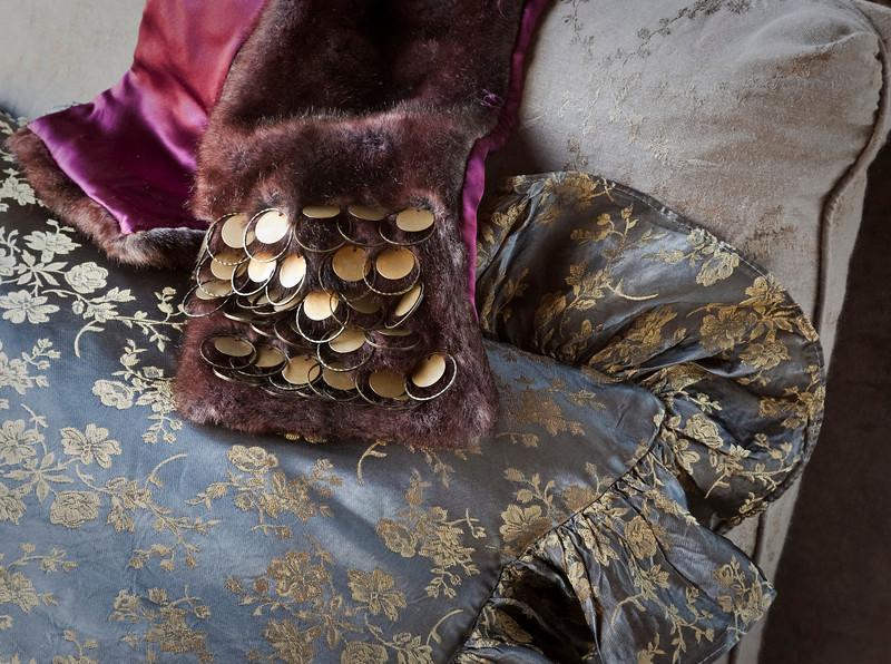 Colette Throw Pillow in Sable, Sable Celeste upholstered turned leg slipper chair