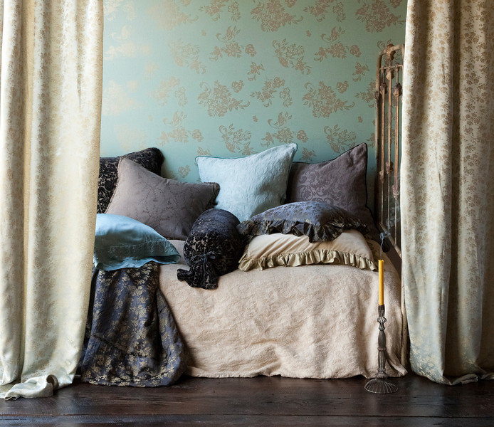 Adele Queen Duvet Cover in Ginger, Colette Personal Comforter in Sable, Adele Euro Sham in Sable, Adele Euro Sham in Seaglass, Velvet with Satin Deluxe Sham in Ginger, Colette Throw Pillow in Sable, New Primrose Bolster in Sable, Celeste Sham in Sable, New Primrose Euro Sham in Sable, Satin Pillowcase with Venice Lace edge in Seaglass, Colette Curtains in Seaglass