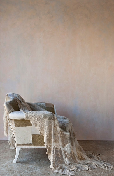 Olivia Yardage in Sand draped over Sophia upholstered chair in Sand