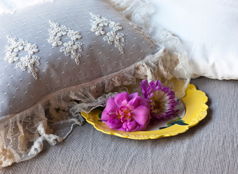 Olivia Boudoir in Champagne over Linen Boudoir in Pebble, Madera Duvet Cover in Champagne, Homespun Coverlet in Flax
