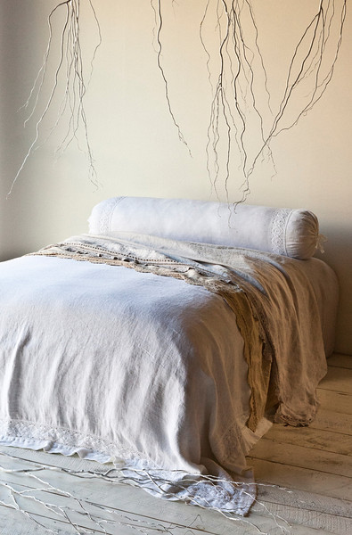 Homespun Coverlet in White, Homespun Bolster in White, Linen with Crochet Lace Sheets in Sand and Pebble, Linen Fitted Sheet in Pebble